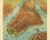 Antique Map of New York 1879 Bird's Eye View Portrait