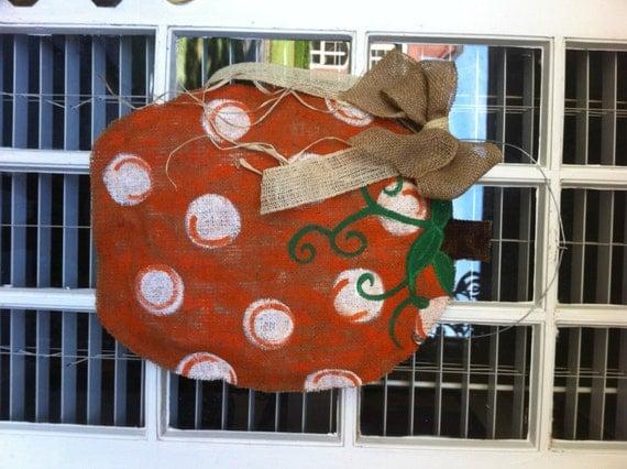 FALL Burlap Pumpkin Door Hanger