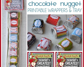 TEACHER Appreciation Chocolate Nugget Wrappers, CANDY favor, Back to SCHOOL Treat - Printable Instant Download