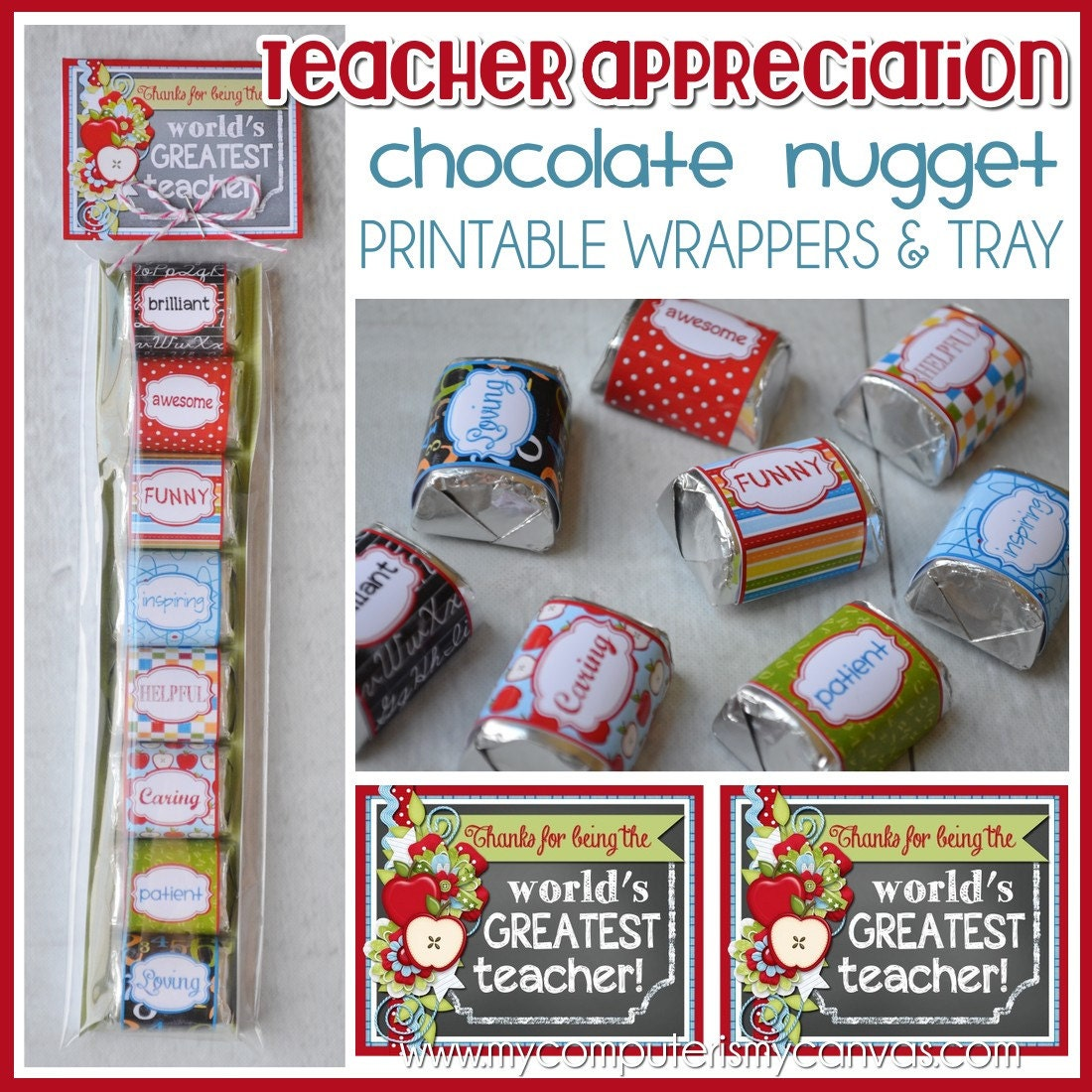 TEACHER Appreciation Chocolate Nugget Wrappers CANDY favor