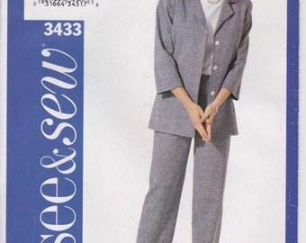 CLEARANCE Easy Pants Pattern Semi Fitted Jacket Pattern Size 18 - 22 Uncut See and Sew 3433