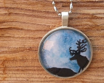 Jewelry Necklace Glass Reindeer Caribou  Pendant Charm - Reindeer Stars - Whimsical Watercolor Art