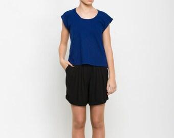 Blue T shirt, basic top, one size t shirt, plain shirt, day wear top, blue top, viscose shirt, short sleeve top, scoop neck t shirt