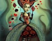 Queen of Hearts - Alice in Wonderland 4 x 6 Mini Art Print