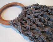 Dark Gray Linen Knotted Bohemian Wooden Handle Bag - Ready to Ship - Eco Fashion - Spring/Summer