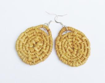 Woven Raffia Earrings -Spiral Earrings -Natural Earrings -rustic -1.5 inch diameter