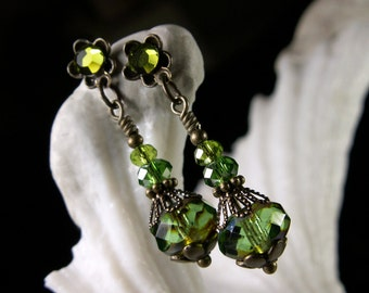 Lime Green Jeannie Bottle Earrings, Peridot Crystal Steampunk Drops Vintage Victorian Bridal Style Antique Brass Titanic Temptations Jewelry