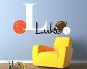 Monogram Decal Personalized Boys Nursery Decor with Sports Theme - Baseball, Basketball, Football - Fun Gift for Kids