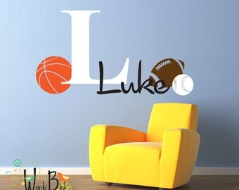 Monogram Decal Personalized Boys Nursery Decor with Sports Theme - Baseball, Basketball, Football - Fun Gift for Kids