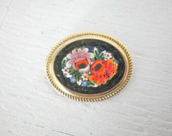 Vintage Mini Mosaic Brooch Floral Flowers Red Black Gold Tone Mid Century Costume Jewelry GallivantsVintage