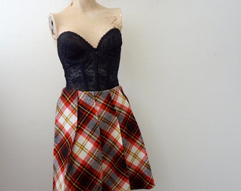 1960s A-Line Skirt / plaid pleated mini skirt / mod vintage fall fashion
