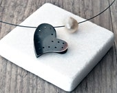 Heart Necklace, Sterling Silver Heart Pendant & Natural Pearl, Reversible Silver/Black Oxide Heart Everyday Heart Necklace Love Gift for Her