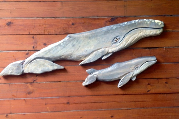 Gray whale calf and cow ft chainsaw carving by oceanarts