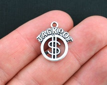 10 Jackpot Charms Antique Silver Tone - SC3732