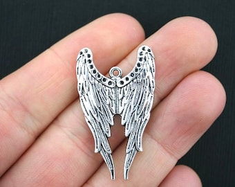 2 Large Wings Charms Antique Silver Tone Stunning Detail - SC3532