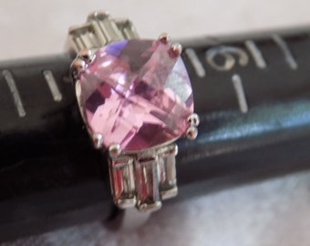 Vintage ring, size 7 ring, pink crystal and baguettes silver ring, dinner ring, signed NV ring, vintage jewelry