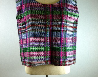 Colorful Washed Out Plaid Boxy Crop Top