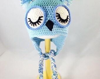 Blue Sleepy owl hat, baby owl hat, baby boy hat