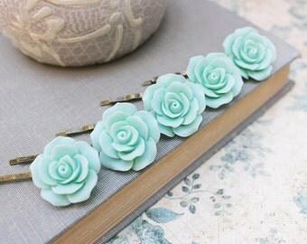 Aqua Rose Bobby Pins Set of Five Hair Slides Mint Wedding Bridal Hair Accessories Romantic Floral Flower Hair Clips Rose Garden Pastel Mint