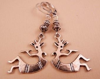 Kokopelli Earrings Silver Earrings Kokopelli Jewelry Beaded Earrings Metal Jewelry Beaded Jewelry Metal Earrings