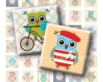 Little Owls squares printable digital collage sheet. 1 inch digital images for pendants, magnets.