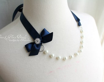 Flower Girl Necklace Jewelry- Junior Bridesmaid - Pearl Crystal Ribbon Necklace - Bridal Bridesmaids - Nautical Beach Wedding -Many Colors