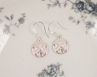 Sand Dollar Earrings, Sterling Silver Sand Dollar