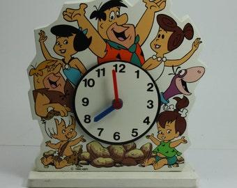 Vintage Flintstones Wooden Cartoon Clock 1994 Battery Operated