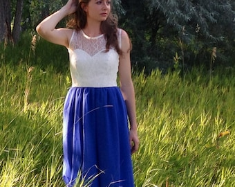 Lace Chiffon Dress in Blue Ivory, Sweetheart - custom size and other colors