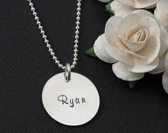 "Single Sterling Silver name necklace - 3/4"" disc - personalized - hand stamped"