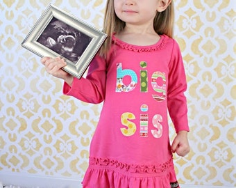 Size 12m Big Sister Dress READY TO SHIP Runs Small 6-12m Big Sister Tunic, Pink Big Sister Shirt, Birth Announcement,