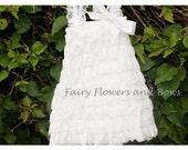 SALE.. Ivory Lace Petti Dress Baptism, Flower Girl, Wedding, Party Dress  (Infant, Toddler, Child)