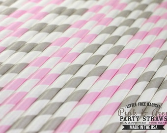 GREY & PINK  Eco-friendly Paper Party Straws and Digital Flags - Made in America - - - FDA approved - - - Ships within 1 business day