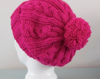 Pink Knit Beanie Hat - Fuchsia Cable Merino Wool Slouchy Pom Pom Winter Accessory Gift for Her by Emma Dickie Design