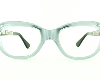 "Vintage Deadstock 60's ""Sophia"" Eyeglass Frames Frosted Silver + Rhinestones France  - FREE Domestic Shipping"