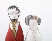 Family portrait dolls, art doll -couple dolls .He is curly bearded with glasses in shades of burgundy gree. she in Kara dotted green skirt