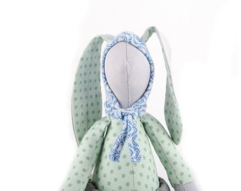 Easter Bunny -  stuffed hare upcycled eco doll, gray  rabbit wearing mint green dotted shirt , Jeans & retro blue hood hat  - handmade doll