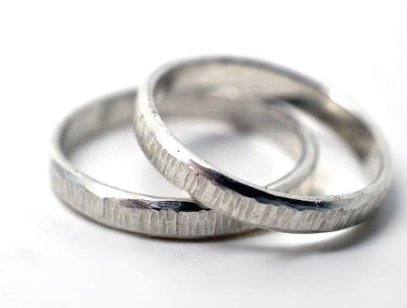 Partnerringe silber gehämmert  Gehämmert Eheringe Ringe paar seine & Ihr Schmuck Unisex