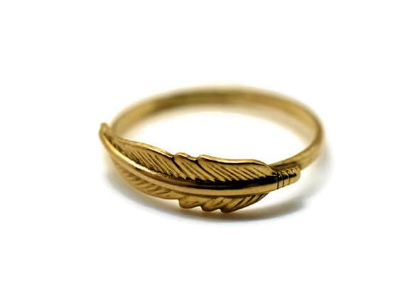 feather ring 14k gold fill ring feather jewelry