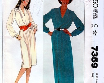 McCall's 7359 Vintage 80s Misses' Dress Sewing Pattern - Uncut - Size 24 - Bust 46