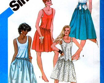 Simplicity 6406 Vintage 80s Misses' Pullover Dresses in Two Lengths Sewing Pattern - Uncut - Size 14 - Bust 36