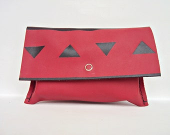 Red Leather Beauty Case, Small Leather Wallet, Red Cosmetic Bag, Geometric, Hand Stitched Makeup Bag, Travel Bag, Red Black, Leather Pouch