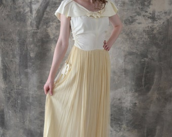 1940s Wedding Gown Satin and Netting