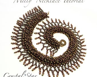 Beading tutorial pattern necklace PDF - seed bead - miyuki drops - CRAW - Milly necklace
