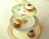 Alice Invites Her Friends, 4 Tiered Large Cupcake Display Centerpiece of Pastel Vintage Plates for Cake, Macarons or Alice in Wonderland Tea