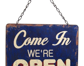 Open Closed Metal Signage for Shop-Distressed Metal-Coffee Shop-Diner-Kitchen-Window Sign Hanger-Bakery Open Sign-Vintage Signs-Restraunt