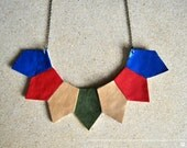 Statement Necklace- Geometric Necklace, leather necklace, gift idea, for her