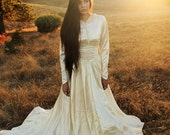 DAWN 1930's Antique Wedding Gown Bridal Attire Satin and Lace Dress  with Train