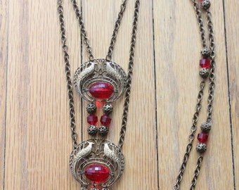 Vintage 60's Victorian Revival Peacock Ruby Necklace