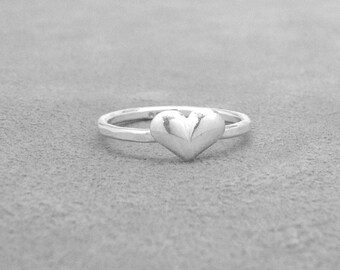 Sterling Silver Puffy Heart Ring, Heart Ring, Sterling Silver Stacking Rings, Heart Stacking Ring, Heart Jewelry, Sterling Silver Jewelry